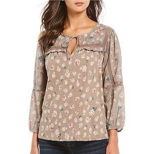 Lucky Brand Crochet Lace Peasant Floral Top Size S